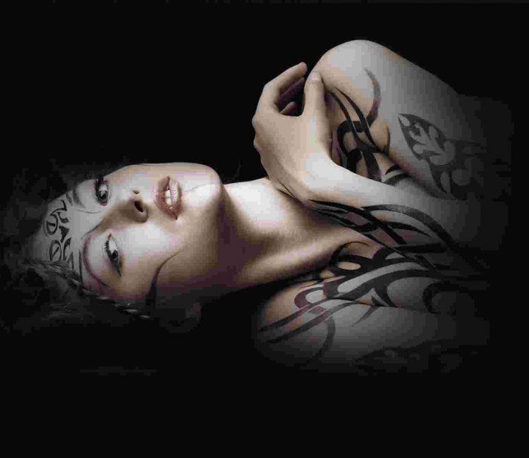 Full body tattooed girl